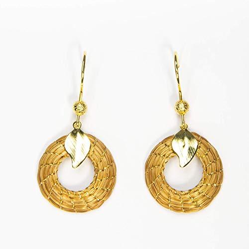 Pendientes Dorados Mandala abierta 2cm en Oro Vegetal con gancho y hoja