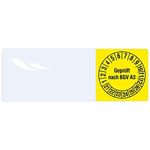 Labelident Kabelprüfplaketten 25 x 70 mm für Kabel-Ø 7,5 bis 16,5 mm - Geprüft nach BGV A3-100 Prüfplaketten in der Packung 2021-2026, Vinylfolie gelb