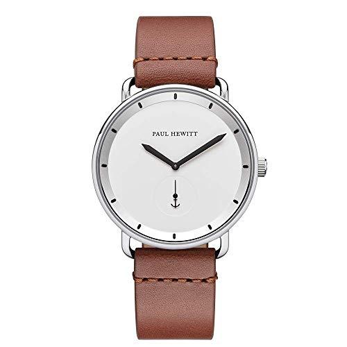 Paul Hewit Reloj de pulsera para hombre de acero inoxidable Breakwater White – Reloj plateado para hombre con correa de acero inoxidable o correa de piel y esfera blanca