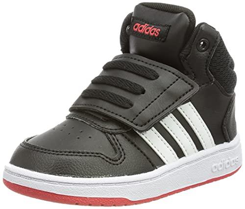 adidas Hoops Mid 2.0 Basketball Shoe, Core Black/Cloud White/Vivid Red, 27 EU