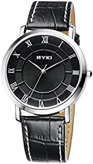 EYKI Fashion Classic Lover's Watch Table Quartz Roman Scale Leather Watchband EET8655 Women Female Blue