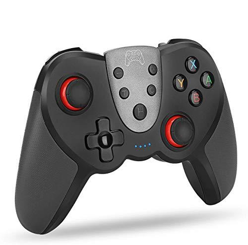 LZW Inalámbrica Bluetooth Gamepad Dual Motor Bluetooth Wireless Juego PS4 Host Controller Gamepad Duradero para Android iOS Anfitrión,Negro