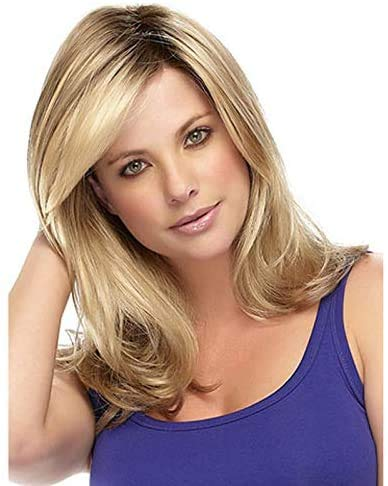 Unknow Femmes Perruques Cheveux Longs bouclés onduleux Ombre Golden Blonde Dames Perruques de Charme comme de véritables Perruques de Cheveux Humains (Fil à Haute température)