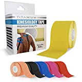 Titanium Sports Kinesiology Tape - Elastic Water Resistant Tape for Support and Muscle Recovery - 5m Quality Sports Tape (yellow)