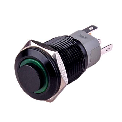 """Ulincos Latching Push Button Switch U16F2 1NO1NC SPDT ON/OFF Black Shell with Green LED Ring Suitable for 16mm 5/8"""" Mounting Hole (Green)"""