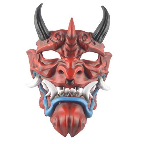VALICLUD Fiesta Diablo Cara Completa Mueca Cubierta de La Cara Tocado Cosplay Tema Fiesta Cubierta de La Cara Escudo Vestir Favores Rojo