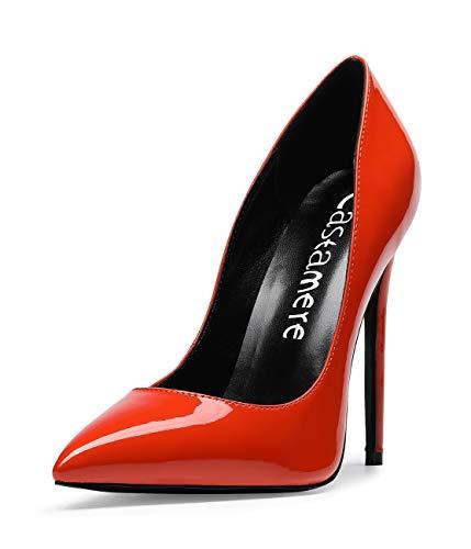 CASTAMERE Scarpe col Tacco da Donna Stiletto Tacco Alto High Heels Sexy Eleganti Scarpe 12CM Tacco Pelle Verniciata Arancione Scarpe EU 39
