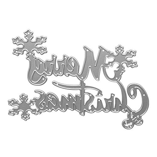 Metal Merry Christmas with Snowflake Cutting Dies,Merry Christmas Word Die Cuts Embossing Stencils Template Mould for Card Scrapbooking and DIY Craft