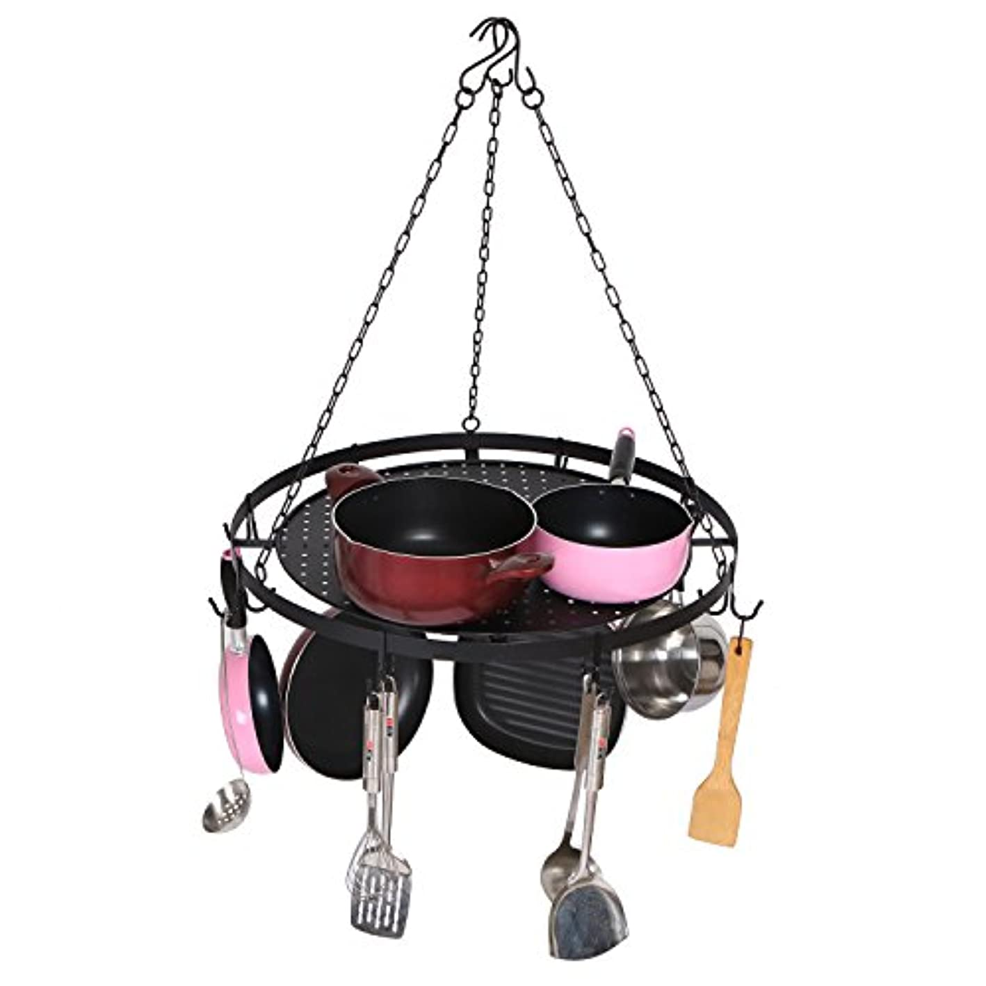 Round Ceiling Mounted Hanging Metal Kitchen Pots and Pans Rack with 7 Removable Hooks, Black