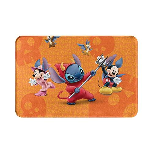 Lilo Stitch Anime Mickey Mouse Minnie Mouse Alfombra suave y cómoda para salón y dormitorio, hecha de tela de franela de alta calidad, 39,9 x 59,7 cm