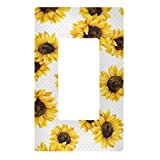 Qilmy Sunflower Wall Plate Switch Plate Light Switch Over Size Wall Plate Cover for Living Room, Bedroom, Bathroom, Office and School Decor