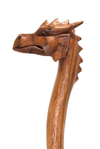 Windalf Draco Bâton de randonnée fabriqué à la main en bois avec dragon 130 cm