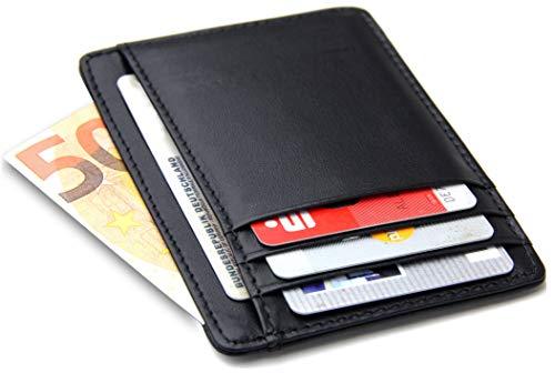 Frentree® Kartenetui aus Leder, extrem dünn, mit RFID Schutz und Sichtfenster, minimalistisches Portemonnaie für EC Karten und Geldscheine