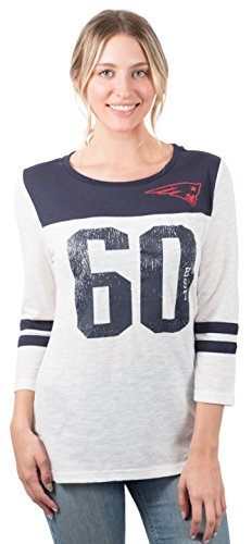 Ultra Game NFL New England Patriots Womenss T-Shirt Vintage 3/4 Long Sleeve Tee Shirt, White, Large