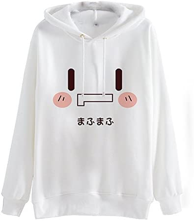 Packitcute Japanese Words Cartoon Face Cotton Fleece Hoodie Women L White product image