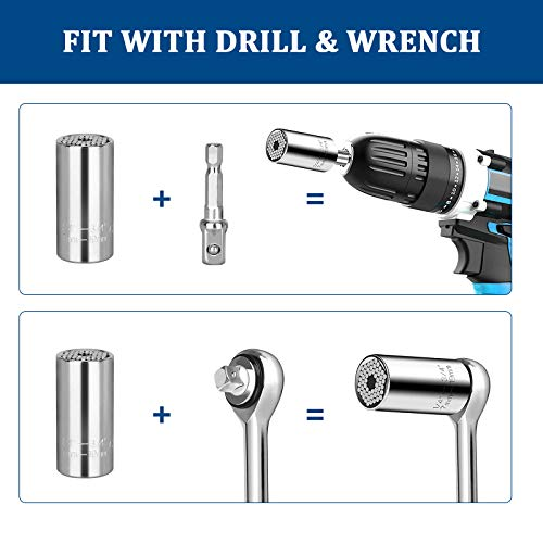 Universal Socket Grip Tool Gifts for Men Dad, Super Socket Set Multi-Function Socket Wrench with Power Drill Adapter Ratchet Gadgets, Valentine's Day Gifts for Men Husband Boyfriend Women DIY Handyman