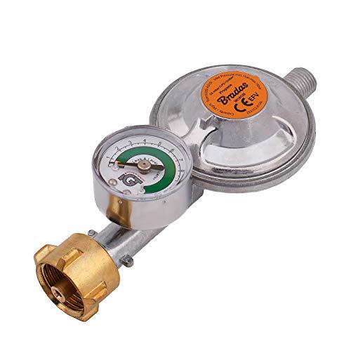 Propan-Butan-Gasregler, 50 mbar, 1,5 kg/h mit Notfallventil und Messgerät, 1/4-Zoll-L-Außengewinde, Grillen, Camping, Wohnwagen