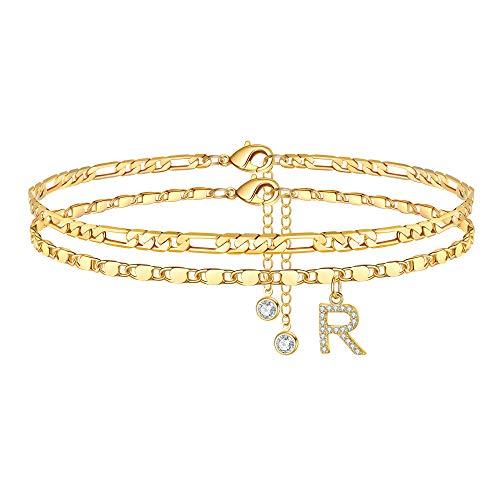 Ursteel Ankle Bracelets for Women, R Initial Anklet 14K Gold Plated Dainty Adjustable Layered Initial Anklets with Letter R Anklets with Initials for Women Teen Girls