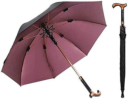 AFANG 2-En-1 Bastones Paraguas -Doble Uso Paraguas para El Sol/Lluvia, Cortavientos Costillas Bast Muleta Paraguas, Marco Robusto, del Viejo Mejor Caña, Unisex,B
