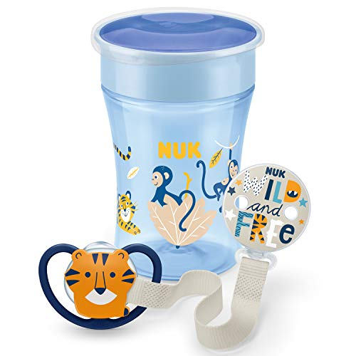 NUK Magic Cup Trinklernbecher, Space Schnuller & Schnullerkette Set | 6+ Monate | BPA-frei | Affe & Tiger (Blau) | 3 Stück