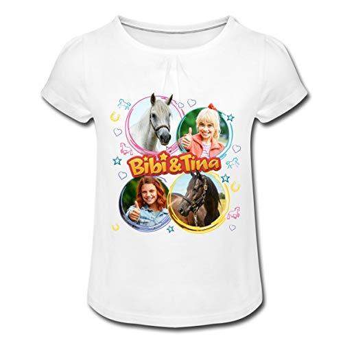 Bibi & Tina Die Serie Amadeus & Sabrina Mädchen T-Shirt mit Raffungen, 4 Jahre, Weiß