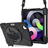 ProCase iPad Air 4 Rugged Case 10.9 Inch 2020 iPad Air 4th Generation Case, Heavy Duty Shockproof Rotating Kickstand Protective Cover for 2020 iPad Air 10.9' 4th Gen A2316 A2324 A2325 A2072 -Black