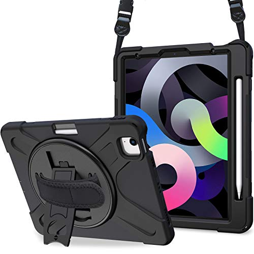 """ProCase iPad Air 4 Rugged Case 10.9 Inch 2020 iPad Air 4th Generation Case, Heavy Duty Shockproof Rotating Kickstand Protective Cover for 2020 iPad Air 10.9"""" 4th Gen A2316 A2324 A2325 A2072 -Black"""