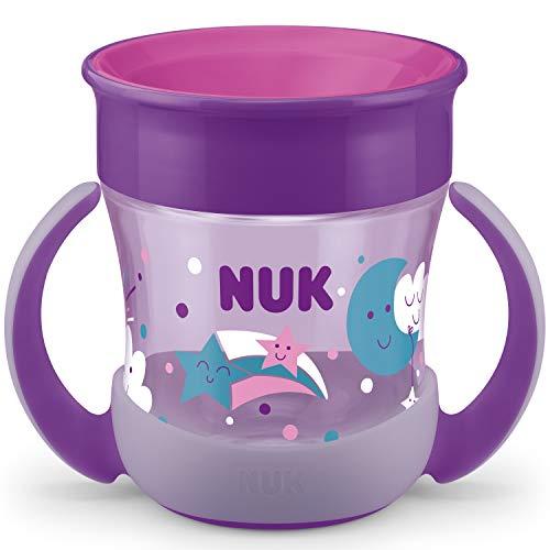 NUK Mini Magic Cup Night Tasse antifuite | Rebord antifuite 360° | À partir de 6mois | Brille dans le noir | Poignées ergonomiques | Sans bisphénol A | 160ml | Violette