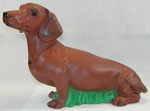 OM Deko Figur Tierfigur Hund Dackel mit Bewegungsmelder wau-wau Höhe 33 cm aus Kunststoff