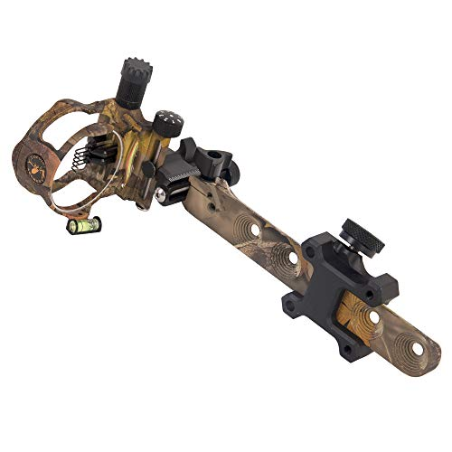 TOPOINT ARCHERY CNC Aluminum 5 Pins Or 7 Pins .019' Tool-Less Bow Sight with Micro Adjust Detachable Bracket LED Sight Light Left and Right Hand (PRO 5 PINS, CAMO)