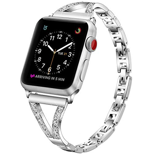 PUGO TOP Cinturino Compatible for Apple Watch Series 5 4 3 2 1,Cinturino Intercambiabile Regolabile in Metallo con Strass per iWatch (38mm/40mm, Argento)