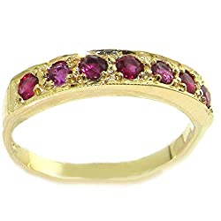 Made in England in our own traditional workshops by experienced family jewellers Genuine Natural Ruby Completely Solid 9ct Yellow Gold, purity 375 Tested, Approved and Fully Hallmarked by either the London or Birmingham Assay Office Sent to you in a ...