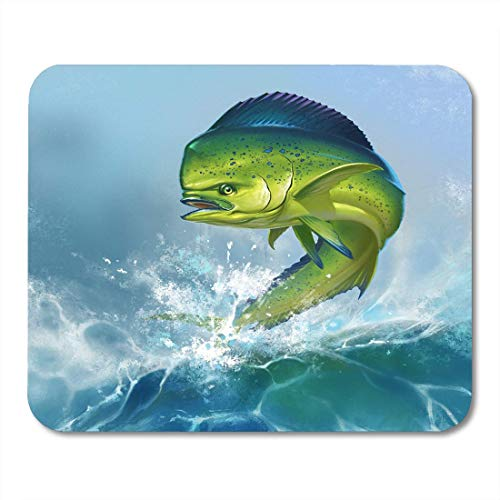 Mauspads Green Ocean Mahi Dolphin Fish Auf Blue Dorado Angeln Salzwasser Big Mouse Pad Für Notebooks, Desktop-Computer Zubehör Mini Office Supplies Mausmatten