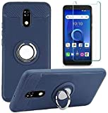 TracFone BLU View 2 Case with Tempered Glass Screen Protector, Rotating Ring [Magnetic Car Mount] [360°Kickstand] Holder [Fashion] Soft TPU Protection Cover Case for BLU View 2 (Blue)