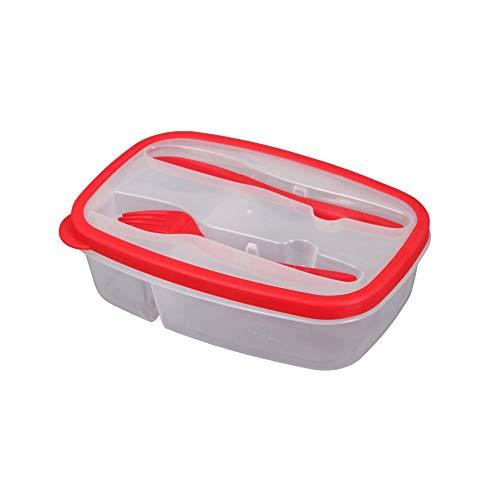 Douceur d'Intérieur CDaffaires Lunch Box +Compartiments Couverts 1.45l 23 x 15 x 6 cm Rouge
