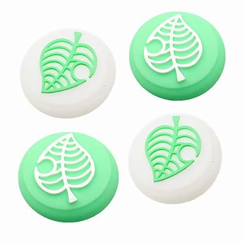 【4個セット】Switch Lite アナログスティックカバー どうぶつの森 For Switch/Switch Lite Joy-Con 対応 シリコン ジョイスティックカバー GEEMEE 限定版•葉の形 ホワイトとグリーン 親指グリップキャップ アナログスティック保護カバー