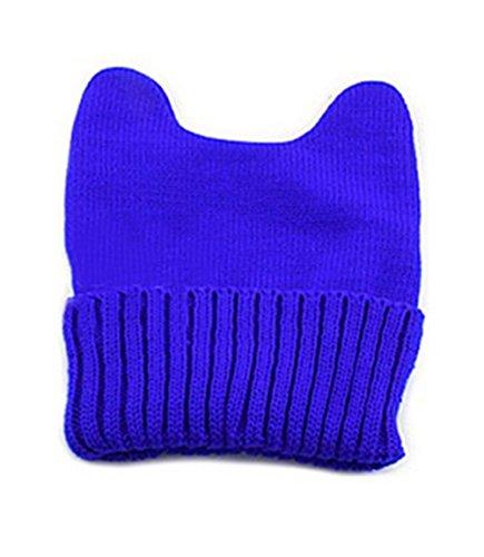 Demarkt Damen Nett Knit Katze-Ohr Teufel-Horn Beanie Mütze Winter-Hut Kappe (Blau)