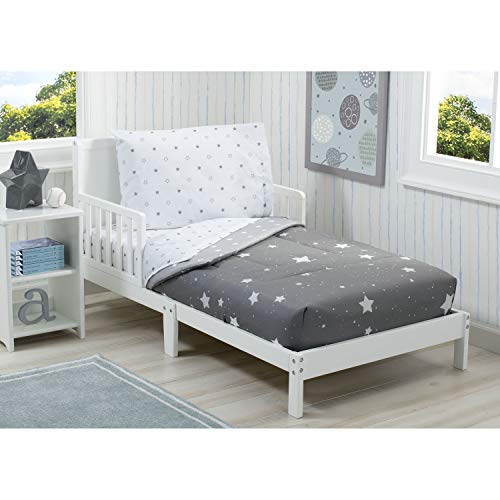 baby relax boy beds Delta Children Toddler Bedding Set   Boys 4 Piece Collection   Fitted Sheet, Flat Top Sheet w/Elastic Bottom, Fitted Comforter w/Elastic Bottom, Pillowcase, Dusty Skies   Grey