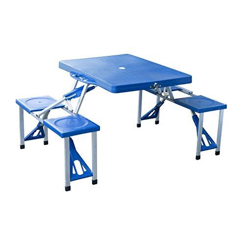 Outsunny® Alu Campingtisch Picknick Bank Sitzgruppe Gartentisch Buffettisch mit 4 Sitzen klappbar Blau