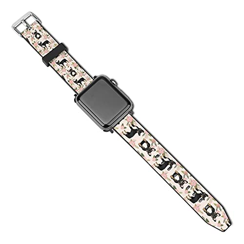 Compatible with Apple Watch Band Watch Strap French Bulldog Floral Black And Tan Frenchie Dog 38mm 40mm Women Men Girls Boys PU Leather Replacement Strap for iWatch ries 5 4 3 2 1