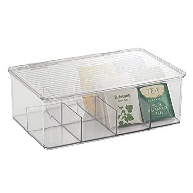 mDesign Tea Bag Single Serve Pouch Divided Box Holder Organizer, Clear