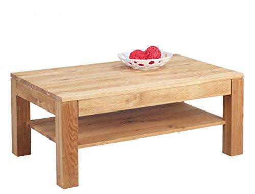 Dreams4Home Couchtisch 'Jana' Massiv Holz Wildeiche Eiche 105x65 cm Tisch Beistelltisch Sofatisch Ablägefläche Wohnzimmertisch