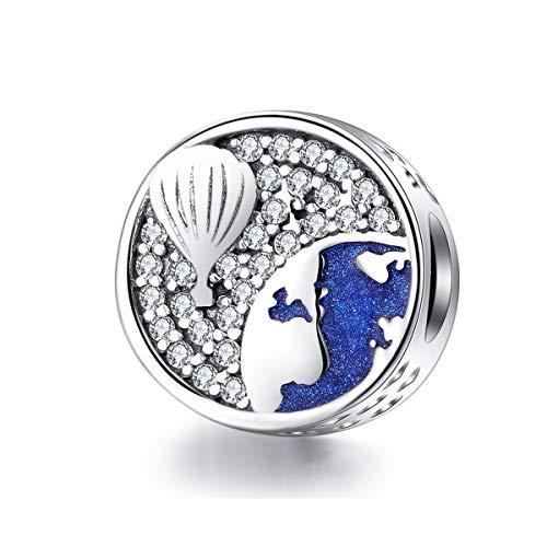 Hete lucht ballon ronde metalen kralen voor vrouwen bedeltjes zilver 925 originele armband & armband sieraden luchtballon blauwe emaille bedeltje