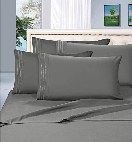 Elegant Comfort 1500 Thread Count Egyptian Quality 4-Piece Bed Sheet Sets, Deep Pockets - Luxurious Wrinkle Free & Fade Resistant, King, Gray