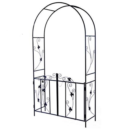 F-XW Iron Arch with Gate, Garden Arbor for Various Climbing Plant, Outdoor Lawn Backyard, 214cm/84″ High x 110cm/43″ Wide, Black