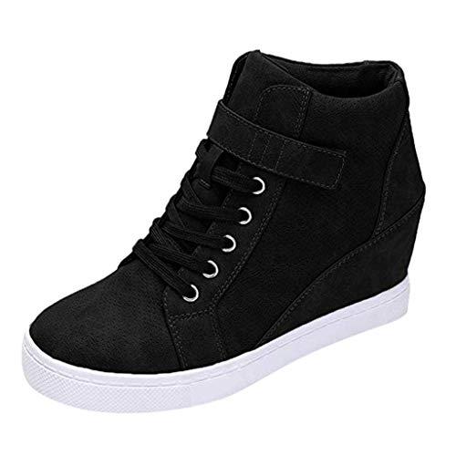 Luckycat Botas de Mujer Zapatillas Deportivas De Mujer Cuña PU Piel Altas Plataforma 7 CM Tacon Sneakers Planos Zapatos Mocasines Comodas