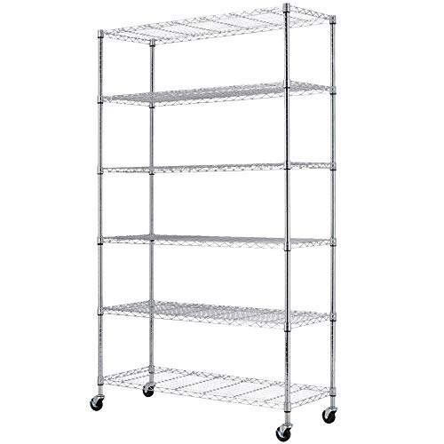 Storage Shelves Metal Shelf Wire Shelving Unit with Wheels 6 Tier NSF Certification Height Adjustable Garage Shelving Utility Steel Heavy Duty Commercial Grade Shelving Rack for Garage Pantry Kitchen