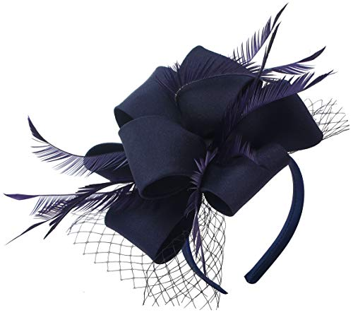 Myjoyday Fascinator Hats for Women Tea Party Wedding Headband Feather Cocktail Headwear Hair Clip for Girls (Navy Blue)