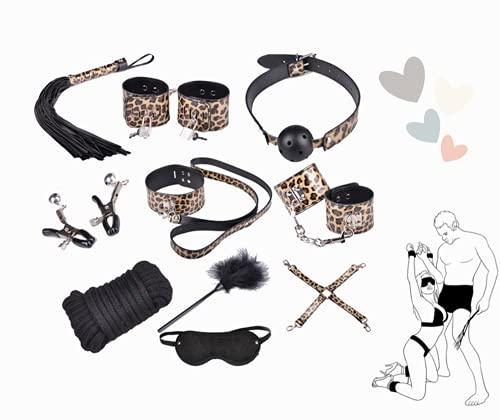 Set in pelle personalizzato per attrezzi da allenamento per yoga color leopardo
