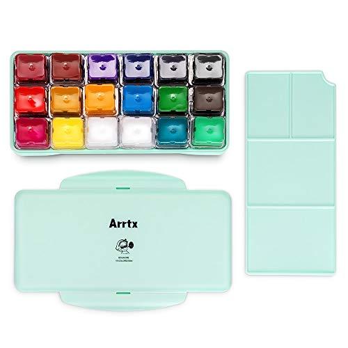 Arrtx Set di Pittura a guazzo, 18 Colori x 30 ml Design Unico della Tazza di Gelatina, Custodia Portatile con tavolozza per artisti, Studenti, Pittura ad Acquerello (Asagi)